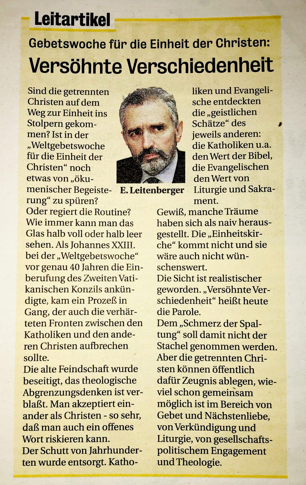 Leitartikel vom 17. Jänner 1999 © Wiener Dom-Verlag